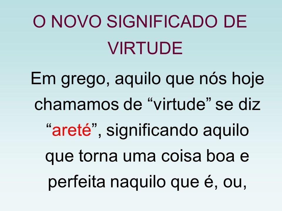 O NOVO SIGNIFICADO DE VIRTUDE