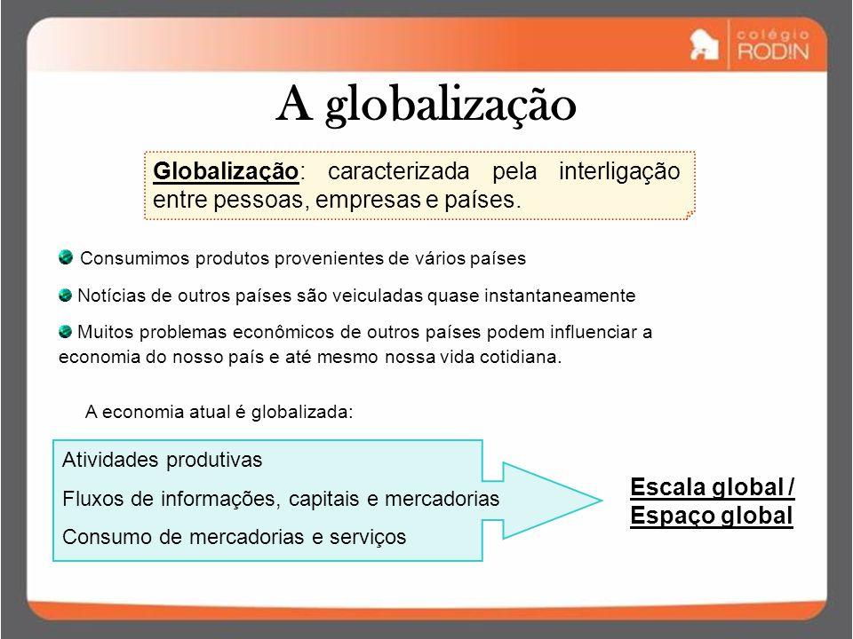 A globalização Globalização: caracterizada pela interligação entre pessoas, empresas e países. Consumimos produtos provenientes de vários países.