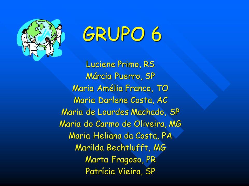 GRUPO 6 Luciene Primo, RS Márcia Puerro, SP Maria Amélia Franco, TO