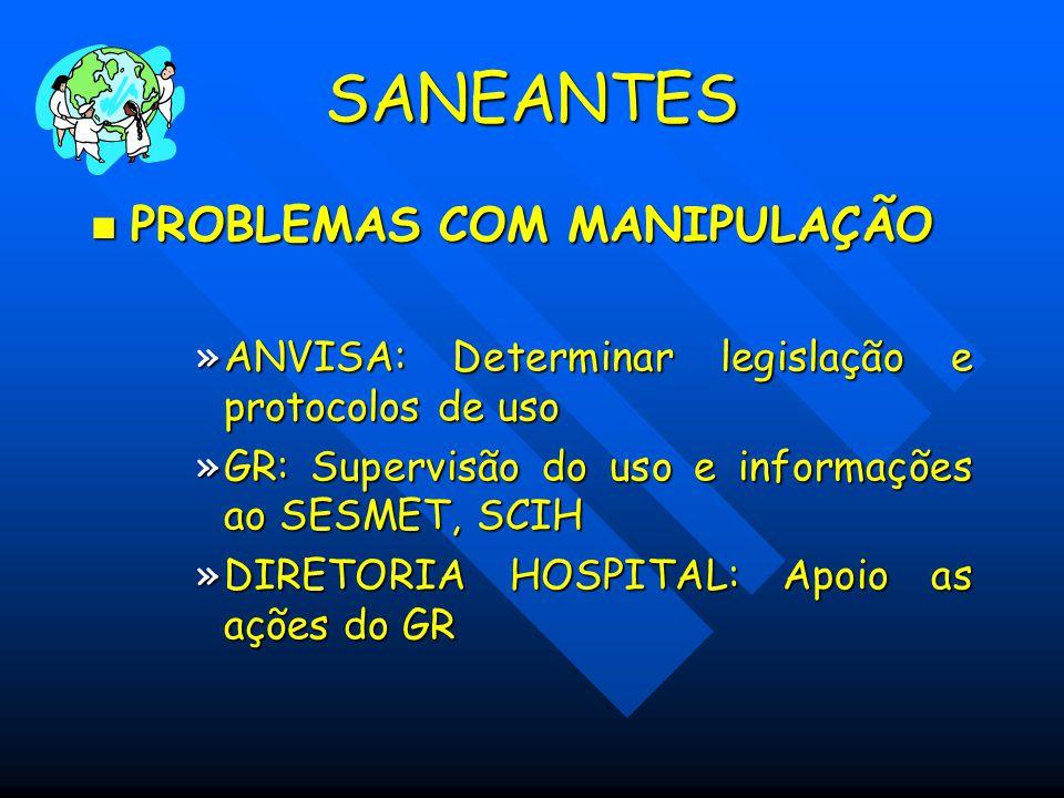 SANEANTES PROBLEMAS COM MANIPULAÇÃO