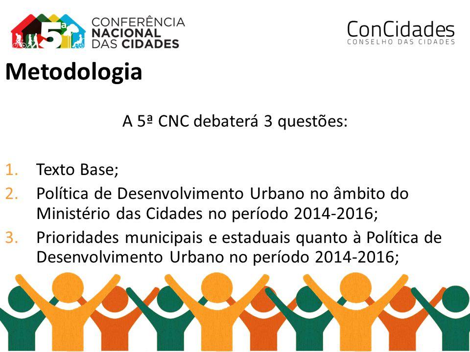A 5ª CNC debaterá 3 questões: