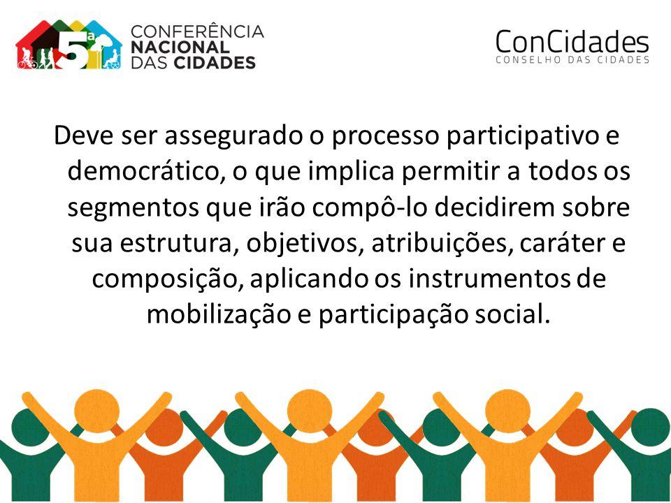 Deve ser assegurado o processo participativo e democrático, o que implica permitir a todos os segmentos que irão compô-lo decidirem sobre sua estrutura, objetivos, atribuições, caráter e composição, aplicando os instrumentos de mobilização e participação social.
