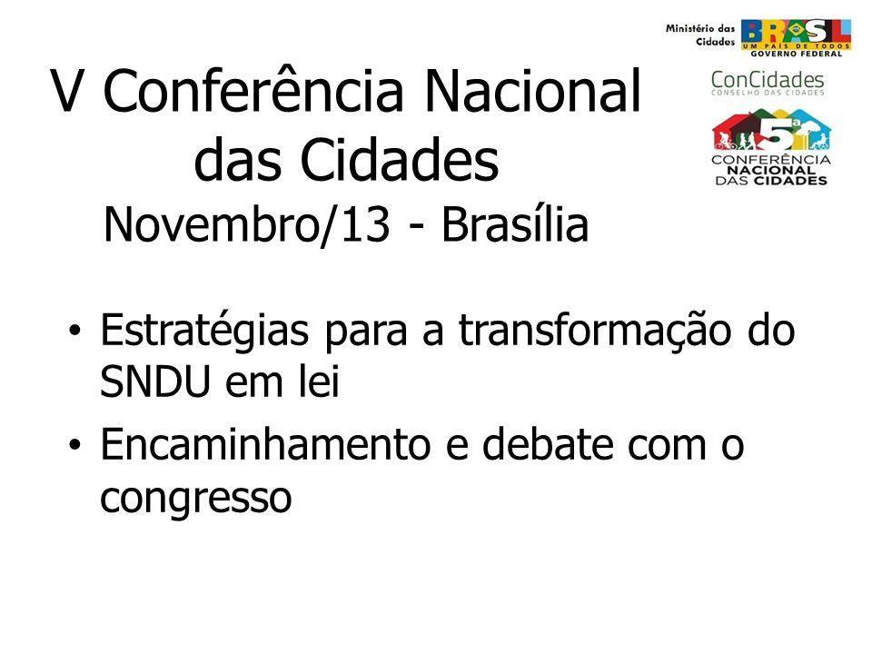 V Conferência Nacional das Cidades Novembro/13 - Brasília