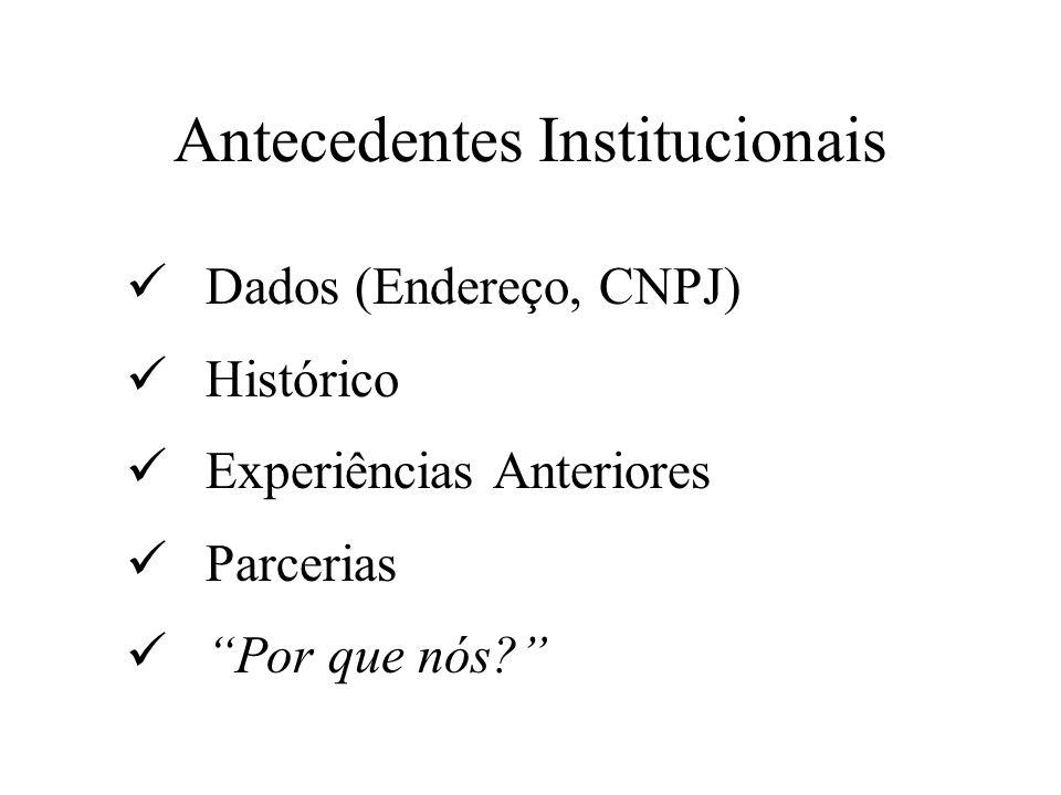 Antecedentes Institucionais