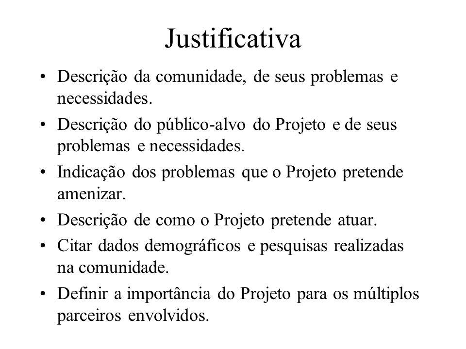 Justificativa Descrição da comunidade, de seus problemas e necessidades. Descrição do público-alvo do Projeto e de seus problemas e necessidades.