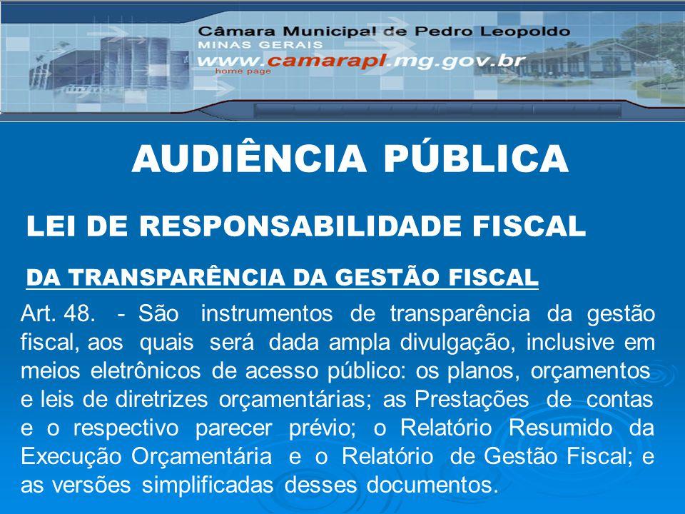 AUDIÊNCIA PÚBLICA LEI DE RESPONSABILIDADE FISCAL