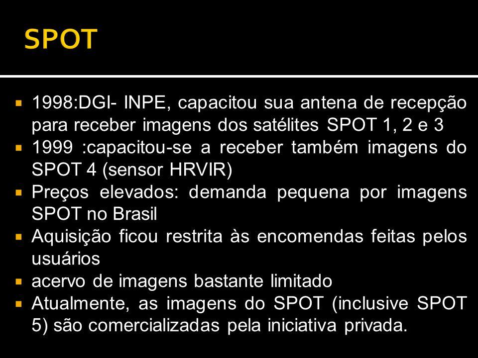 SPOT 1998:DGI- INPE, capacitou sua antena de recepção para receber imagens dos satélites SPOT 1, 2 e 3.