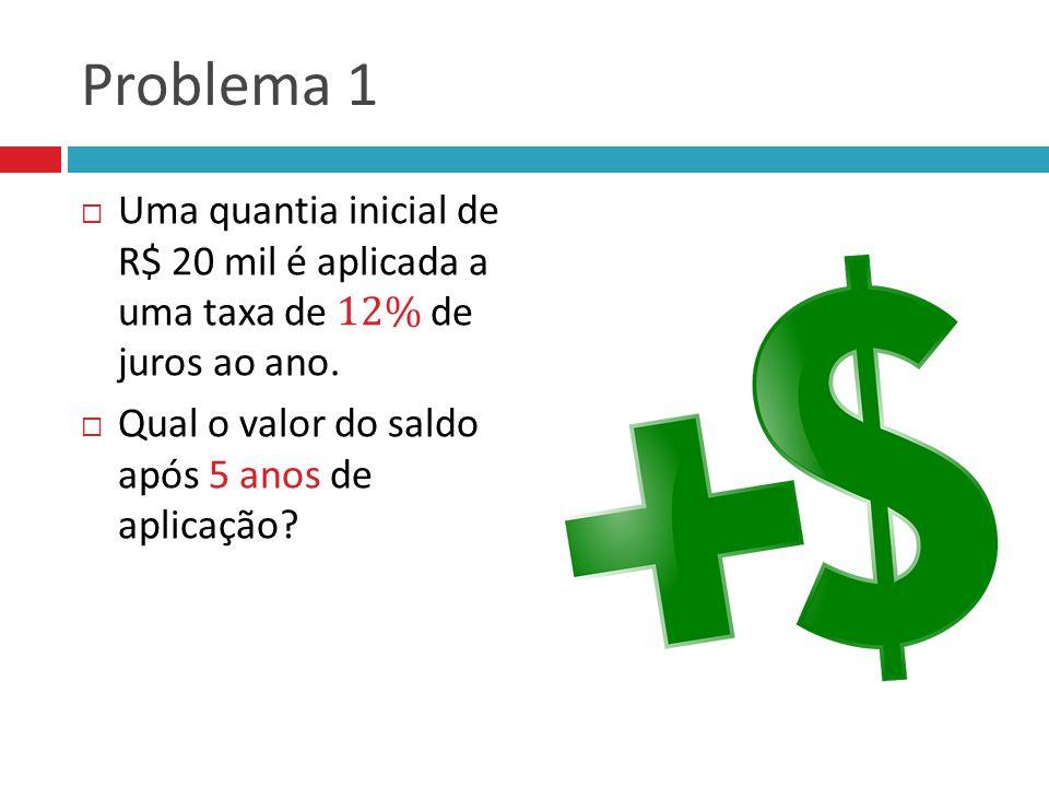 Problema 1 Uma quantia inicial de R$ 20 mil é aplicada a uma taxa de 12% de juros ao ano.
