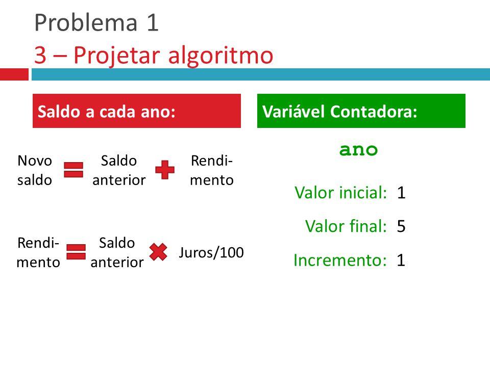 Problema 1 3 – Projetar algoritmo