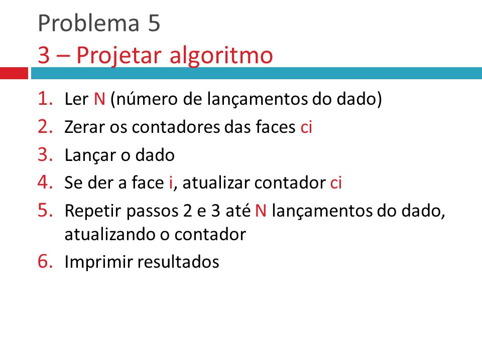 Problema 5 3 – Projetar algoritmo