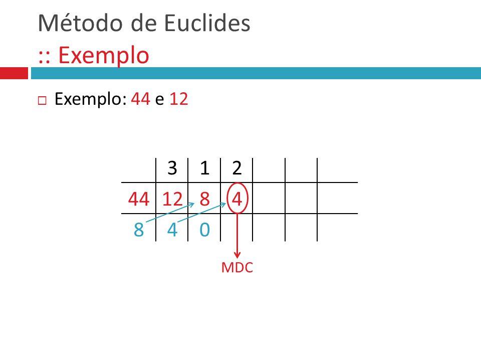 Método de Euclides :: Exemplo
