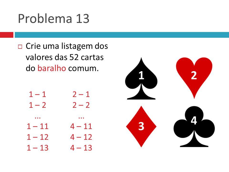 Problema 13 Crie uma listagem dos valores das 52 cartas do baralho comum. 1. 2. 1 – 1. 2 – 1.