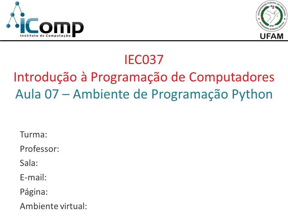 Introdução à Programação de Computadores