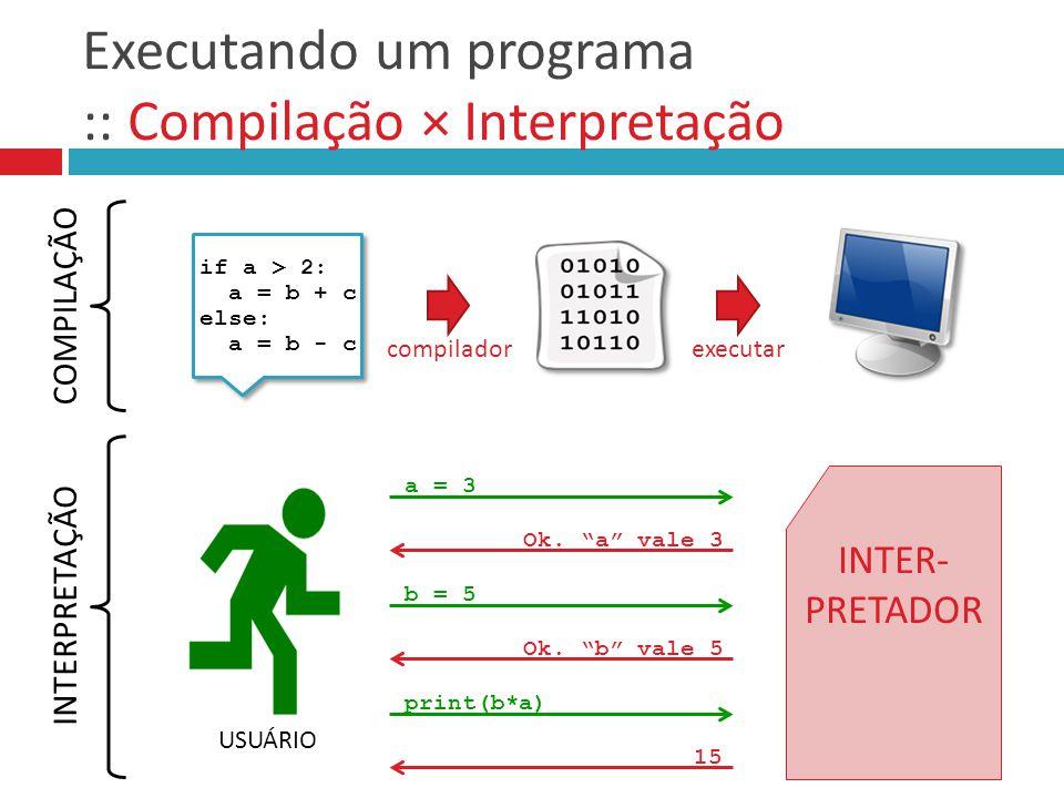 Executando um programa :: Compilação × Interpretação