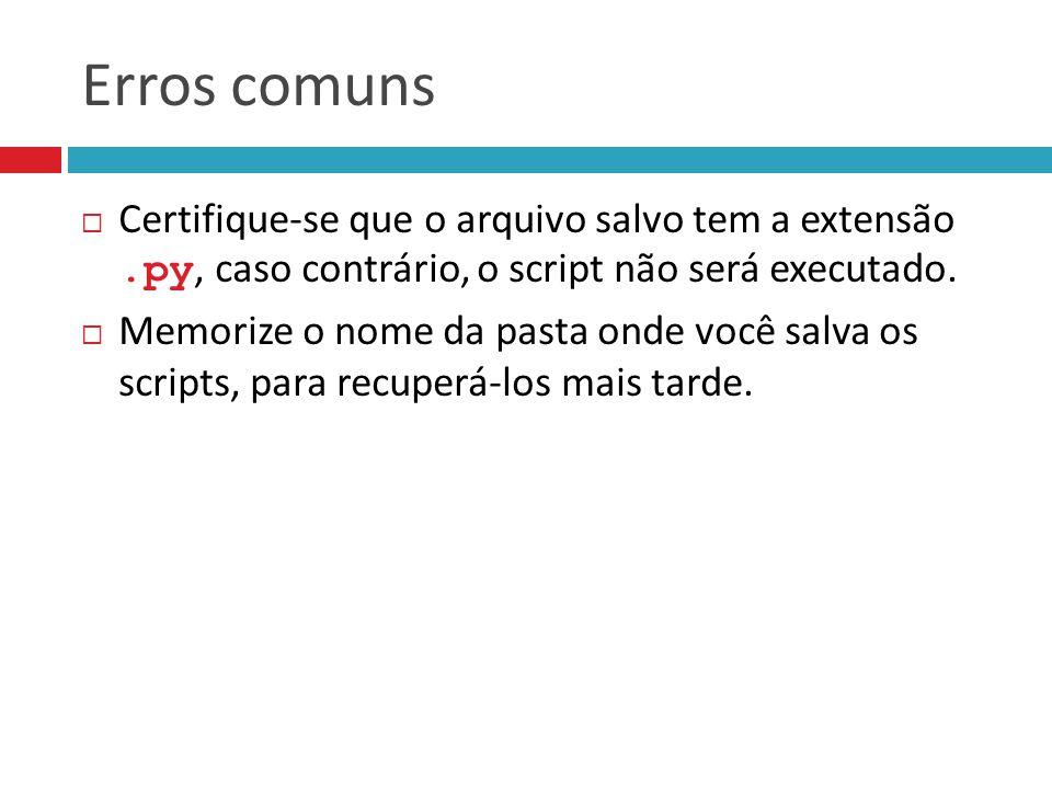 Erros comuns Certifique-se que o arquivo salvo tem a extensão .py, caso contrário, o script não será executado.