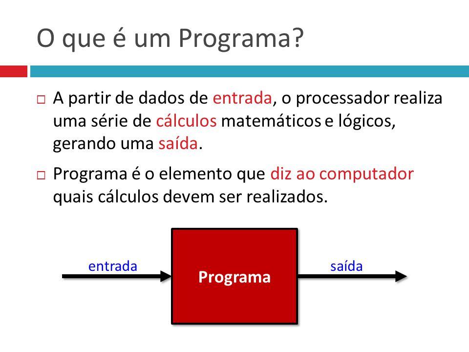 O que é um Programa A partir de dados de entrada, o processador realiza uma série de cálculos matemáticos e lógicos, gerando uma saída.