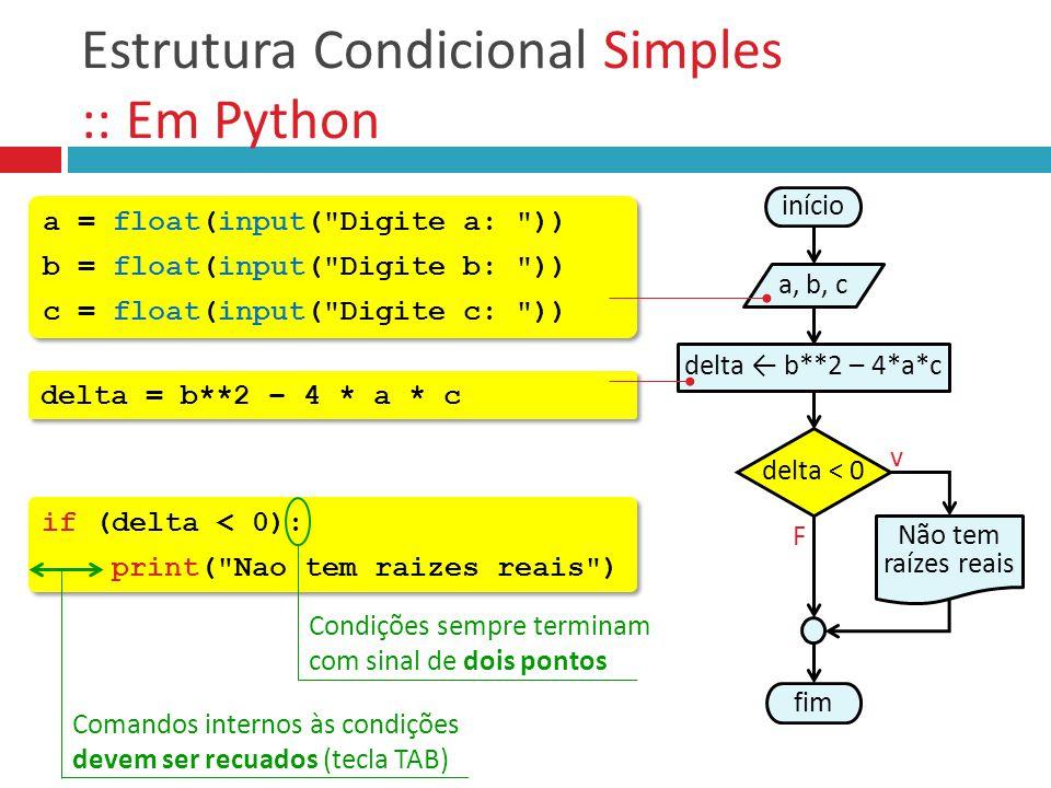 Estrutura Condicional Simples :: Em Python