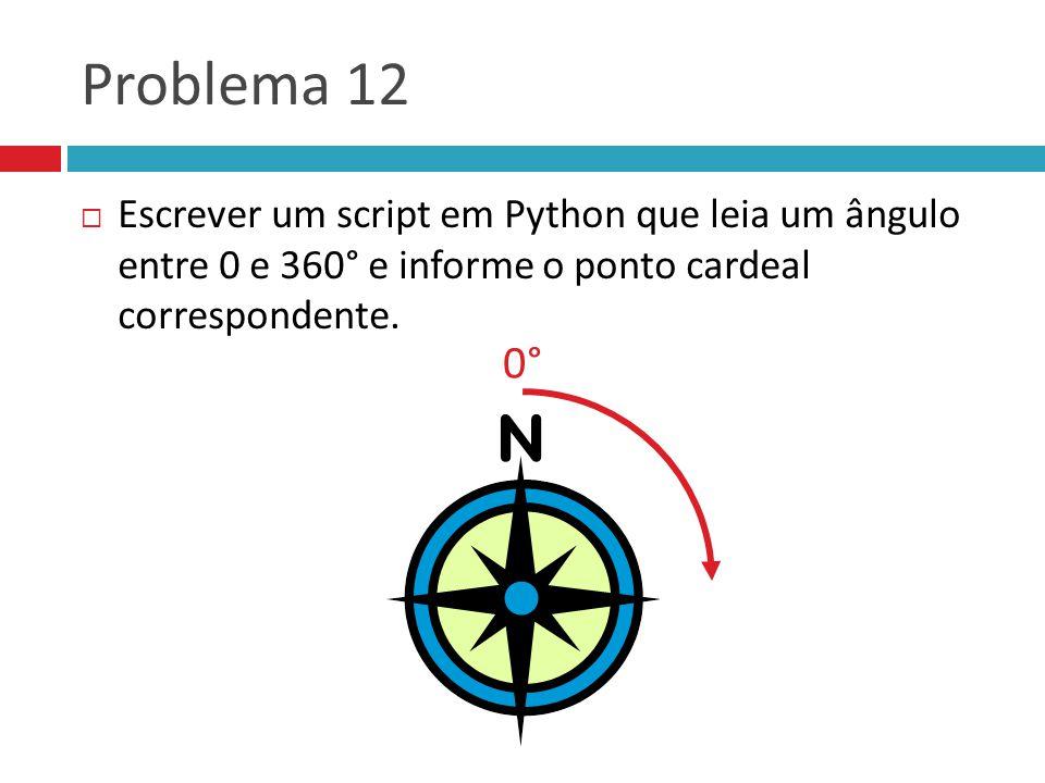 Problema 12 Escrever um script em Python que leia um ângulo entre 0 e 360° e informe o ponto cardeal correspondente.