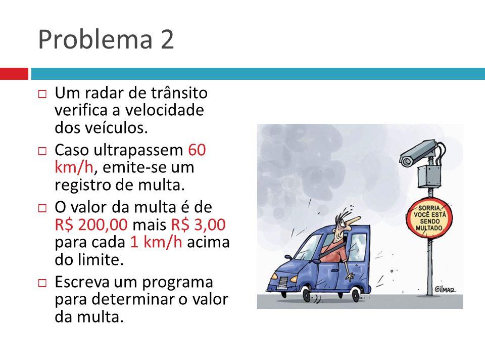 Problema 2 Um radar de trânsito verifica a velocidade dos veículos.