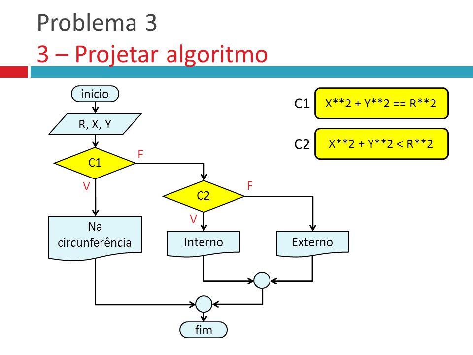 Problema 3 3 – Projetar algoritmo