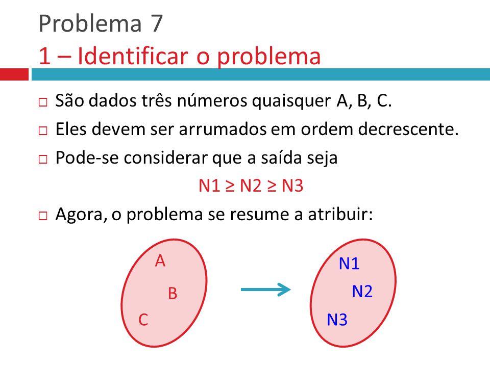 Problema 7 1 – Identificar o problema