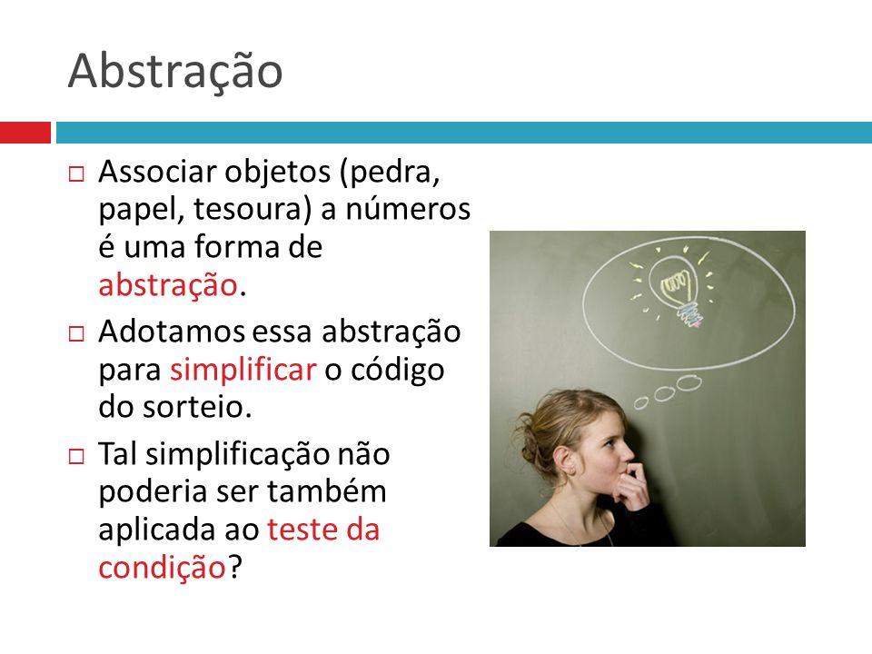 Abstração Associar objetos (pedra, papel, tesoura) a números é uma forma de abstração.