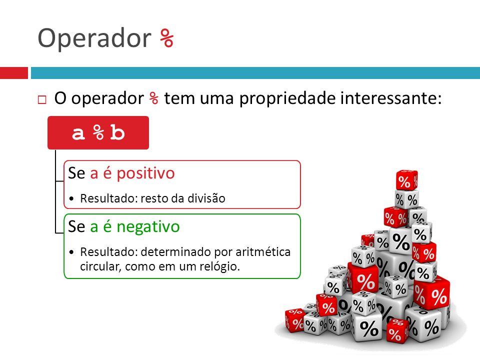 Operador % a % b O operador % tem uma propriedade interessante: