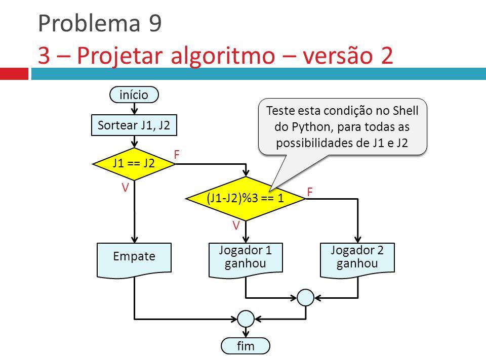 Problema 9 3 – Projetar algoritmo – versão 2