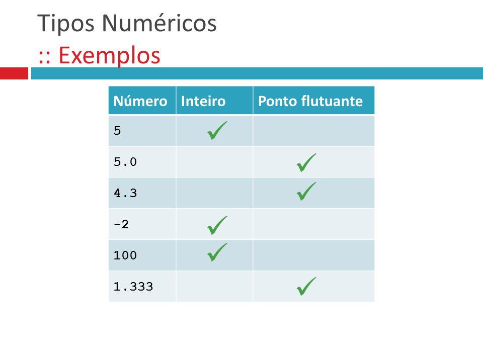 Tipos Numéricos :: Exemplos