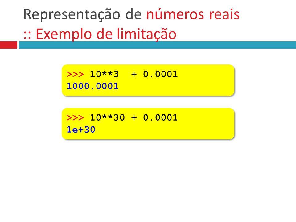 Representação de números reais :: Exemplo de limitação