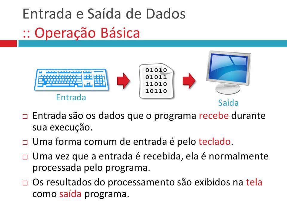Entrada e Saída de Dados :: Operação Básica