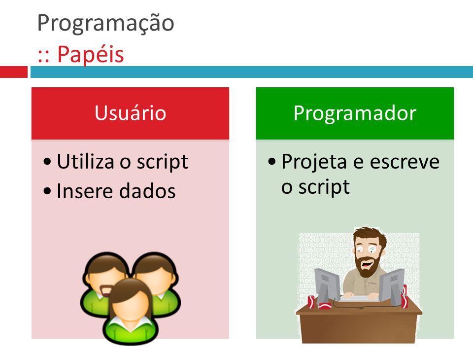 Programação :: Papéis Usuário Utiliza o script Insere dados