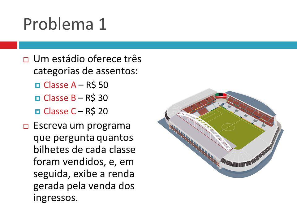 Problema 1 Um estádio oferece três categorias de assentos: