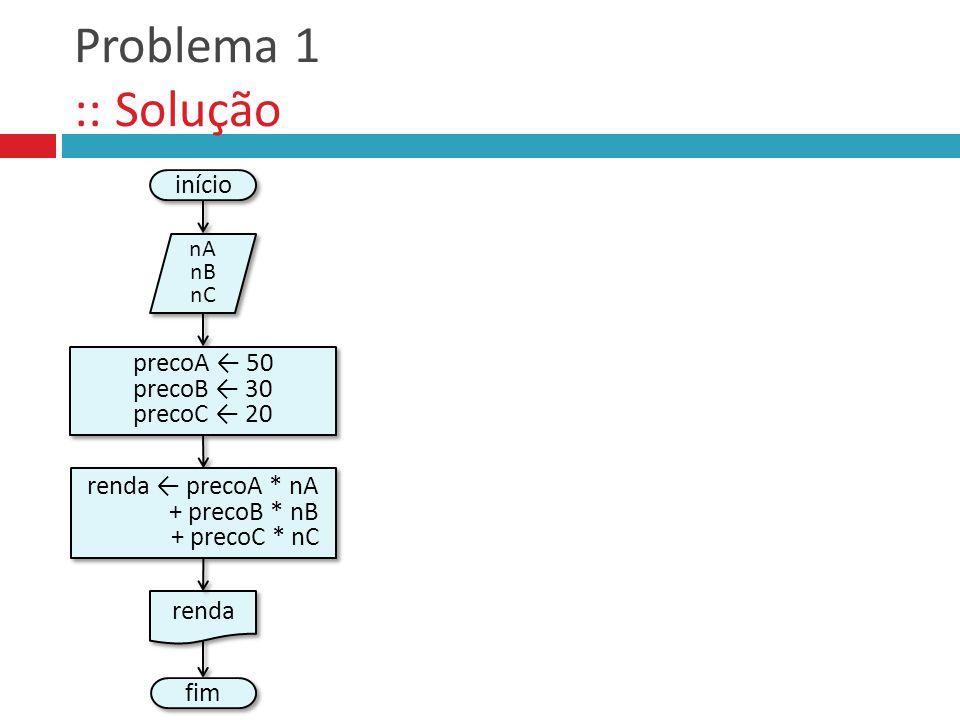 Problema 1 :: Solução início precoA ← 50 precoB ← 30 precoC ← 20