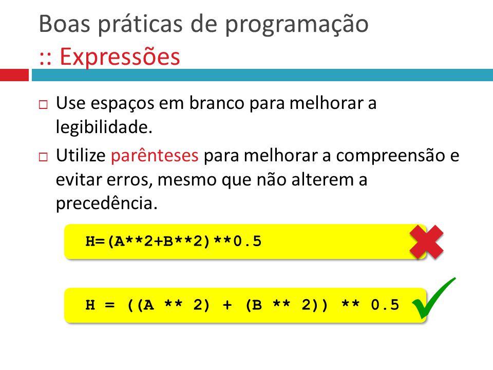Boas práticas de programação :: Expressões
