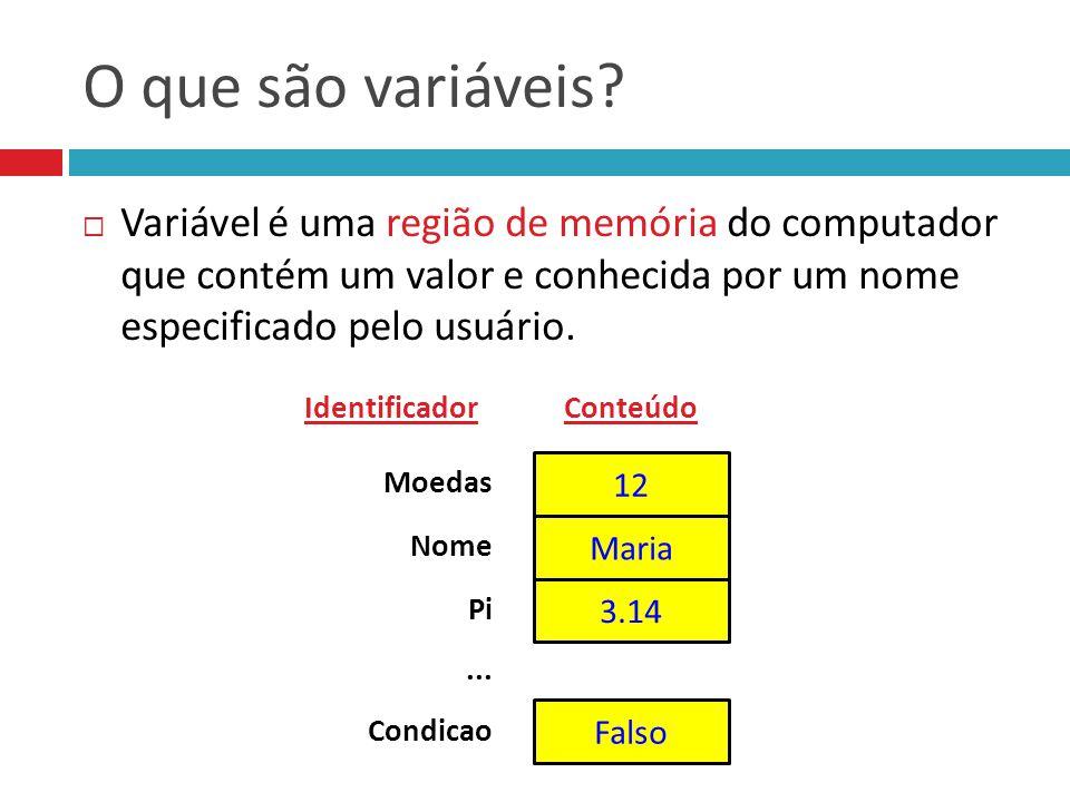 O que são variáveis Variável é uma região de memória do computador que contém um valor e conhecida por um nome especificado pelo usuário.