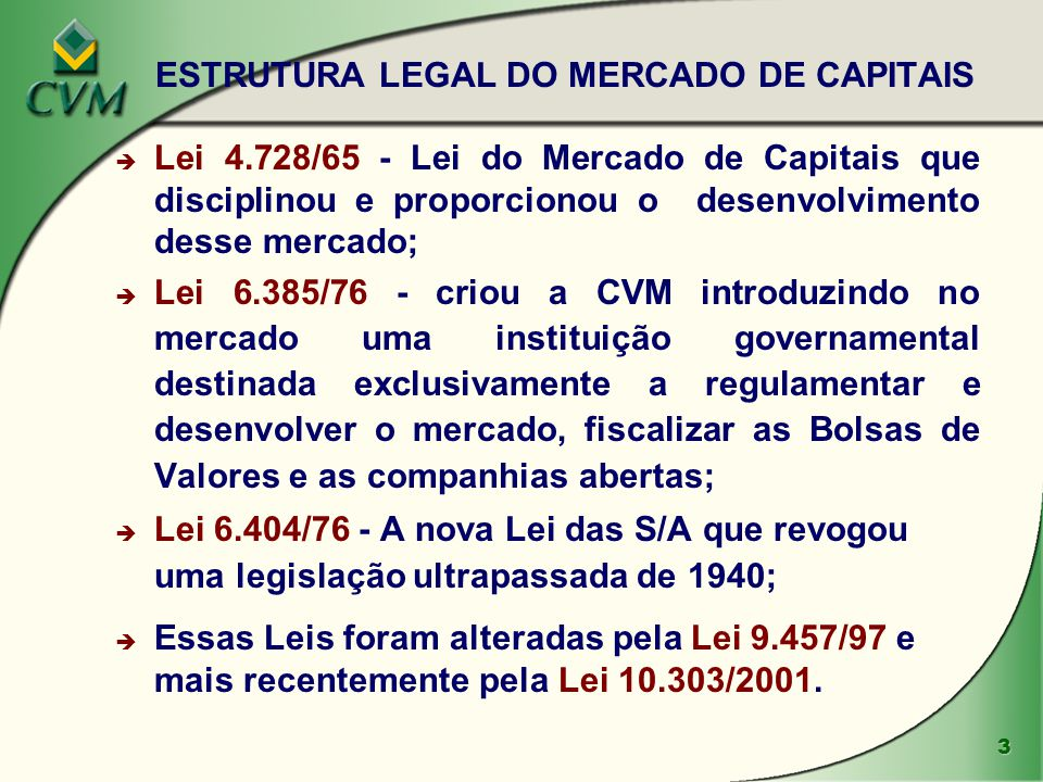 ESTRUTURA LEGAL DO MERCADO DE CAPITAIS