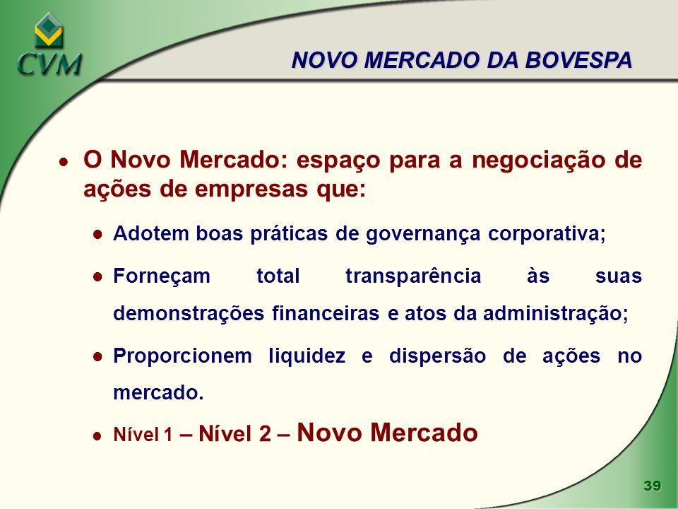O Novo Mercado: espaço para a negociação de ações de empresas que: