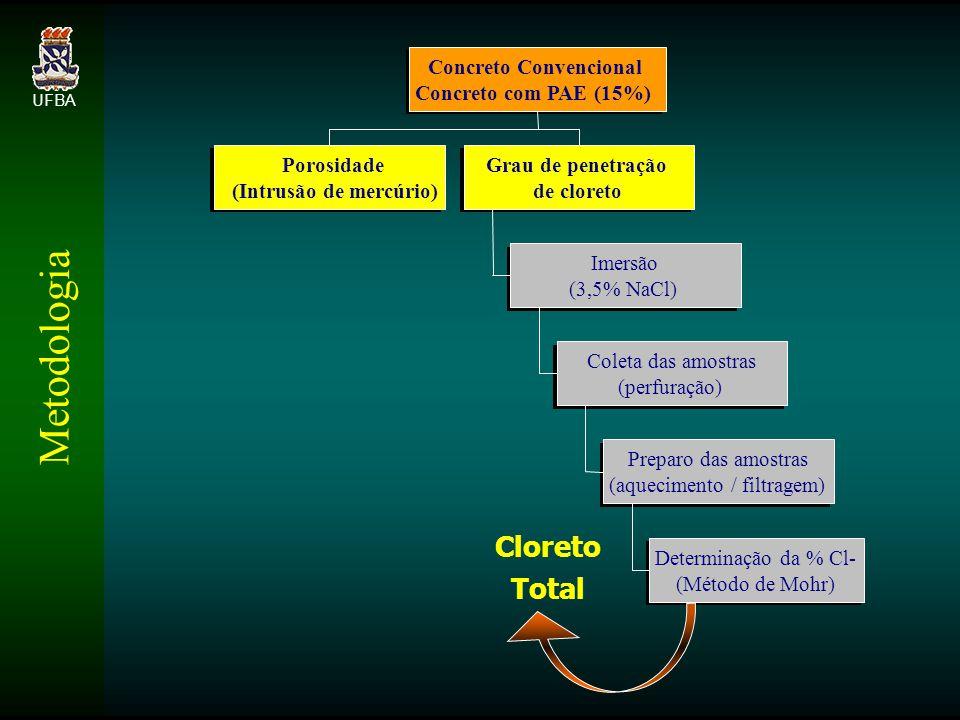 Metodologia Cloreto Total Porosidade (Intrusão de mercúrio)