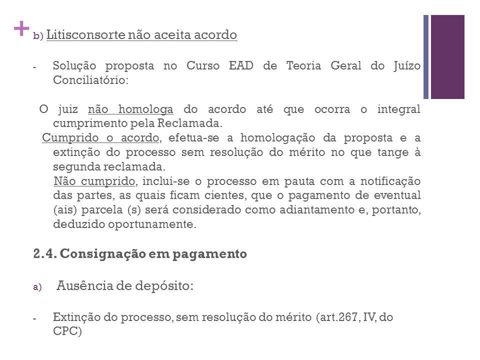 2.4. Consignação em pagamento Ausência de depósito: