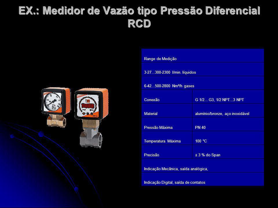 EX.: Medidor de Vazão tipo Pressão Diferencial RCD