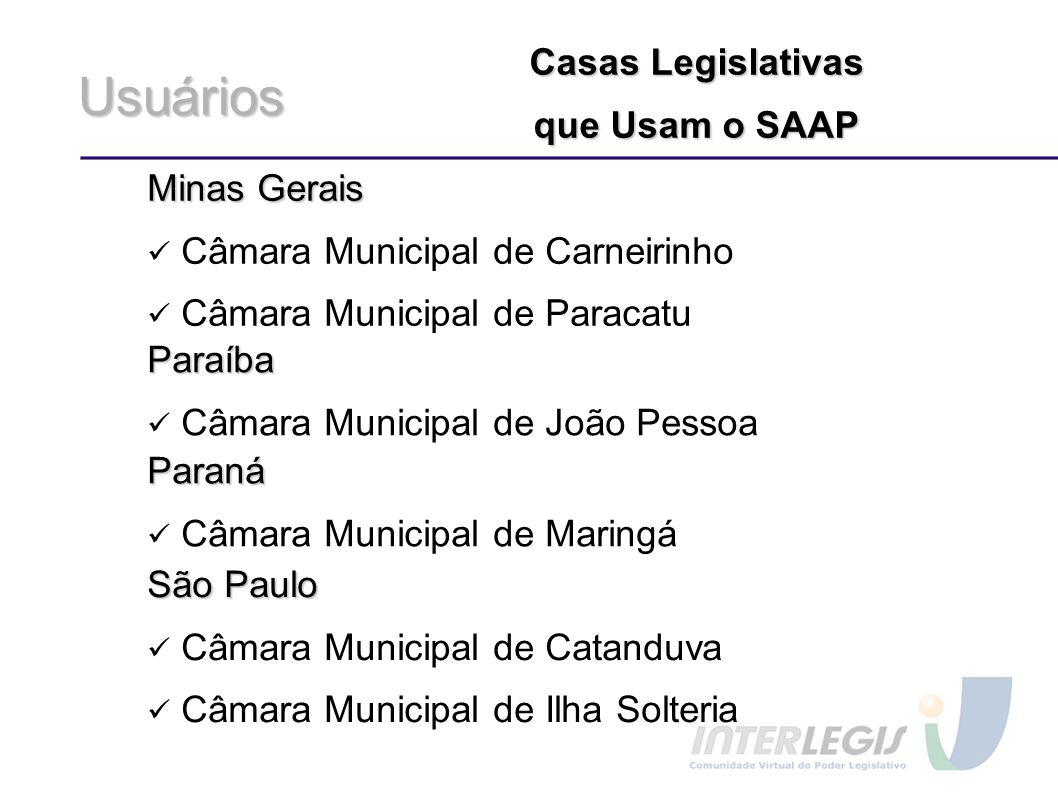 Usuários Casas Legislativas que Usam o SAAP Minas Gerais