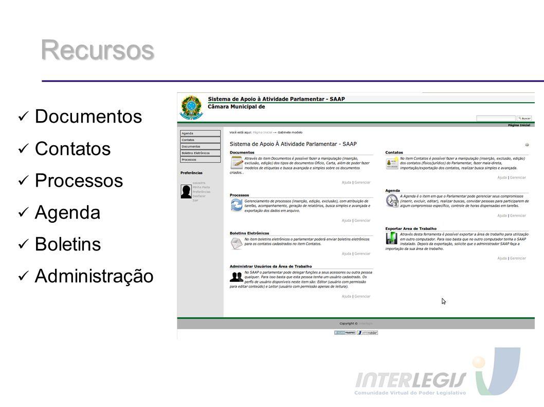 Recursos Documentos Contatos Processos Agenda Boletins Administração