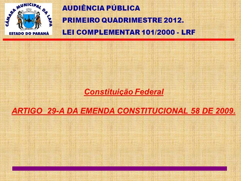 ARTIGO 29-A DA EMENDA CONSTITUCIONAL 58 DE 2009.