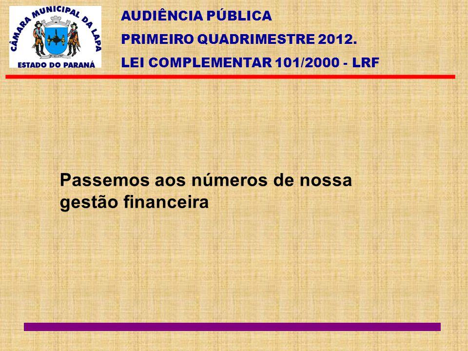 Passemos aos números de nossa gestão financeira