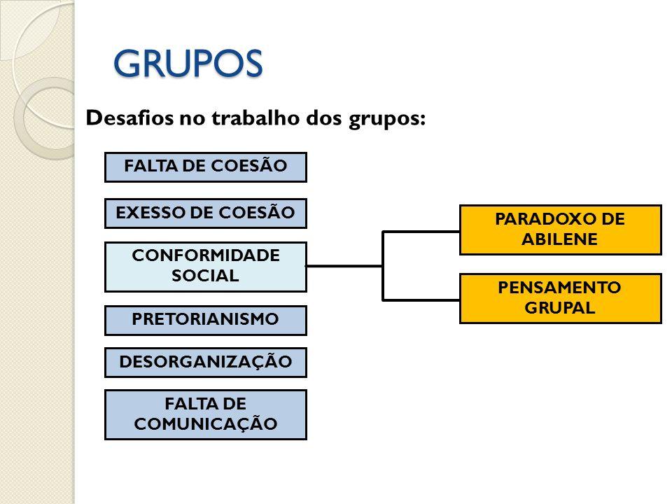 GRUPOS Desafios no trabalho dos grupos: FALTA DE COESÃO