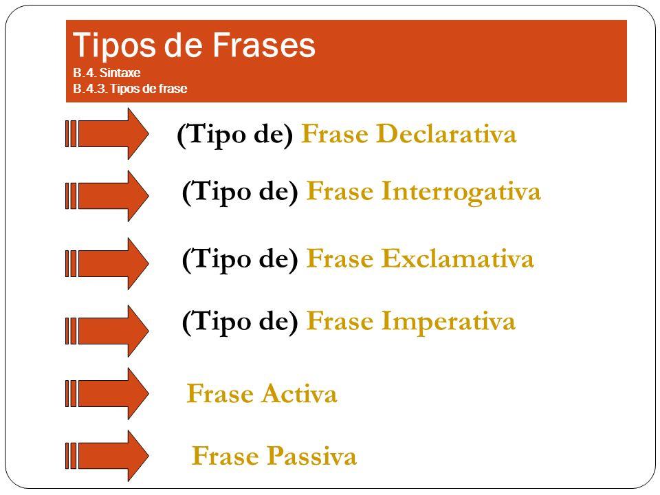 Tipos de Frases B.4. Sintaxe B.4.3. Tipos de frase