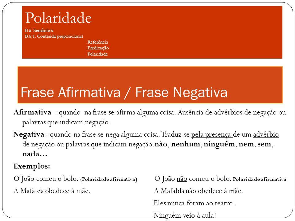 Frase Afirmativa / Frase Negativa