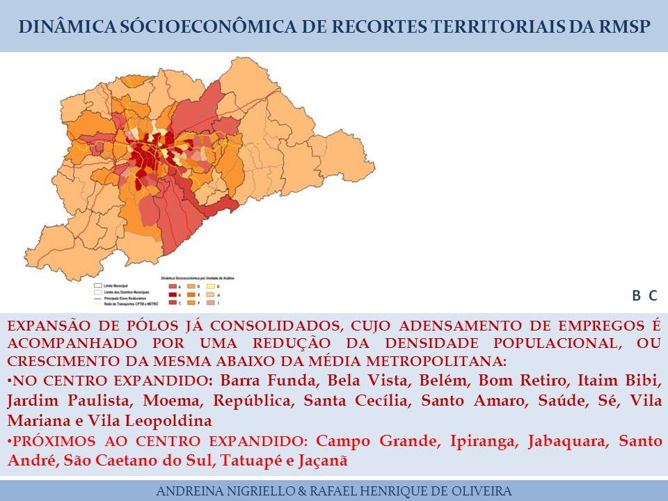 DINÂMICA SÓCIOECONÔMICA DE RECORTES TERRITORIAIS DA RMSP