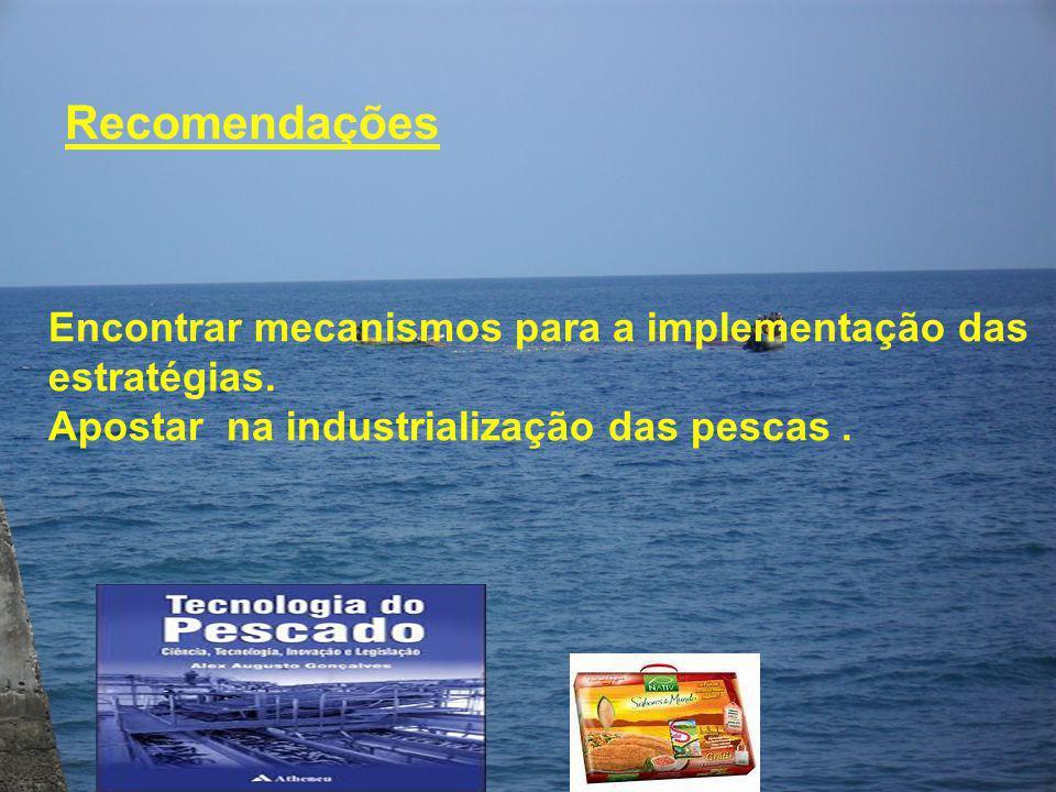 Recomendações Encontrar mecanismos para a implementação das estratégias.
